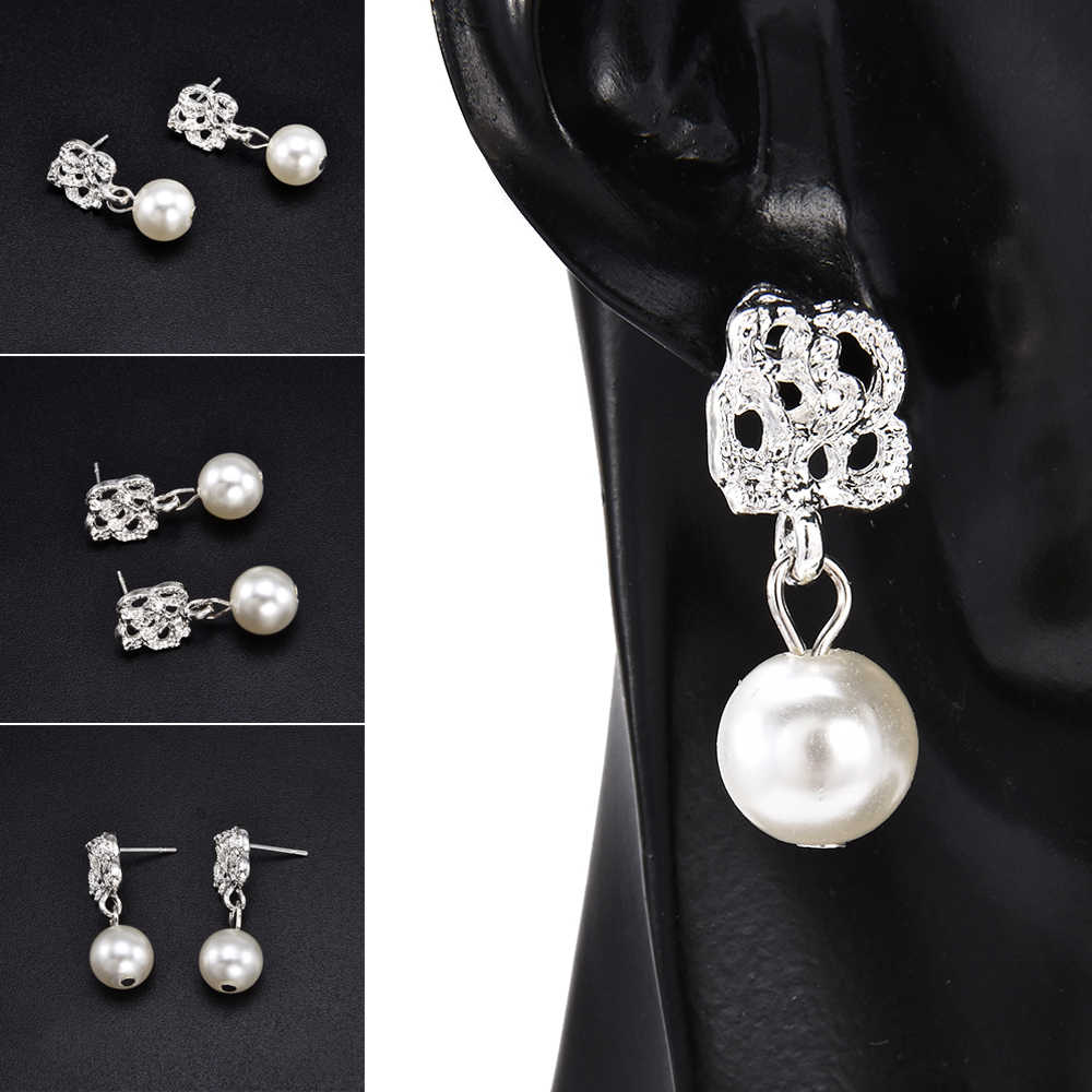 Fashion Vintage Earrings Luxury Eardrop Rose Flower Pearl Ear Stud Earrings Wedding Jewelry