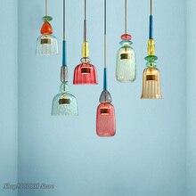 נורדי צבע ממתקי תליון אורות מודרני סלון חדר שינה חדר ילדים יחיד ראש זכוכית תליית מנורות בית תפאורה גופי