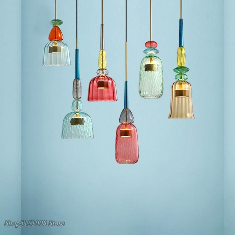 Luster led estilo nórdico, luminária suspensa com cabeça única de vidro para decoração, sala de estar, quarto, para crianças