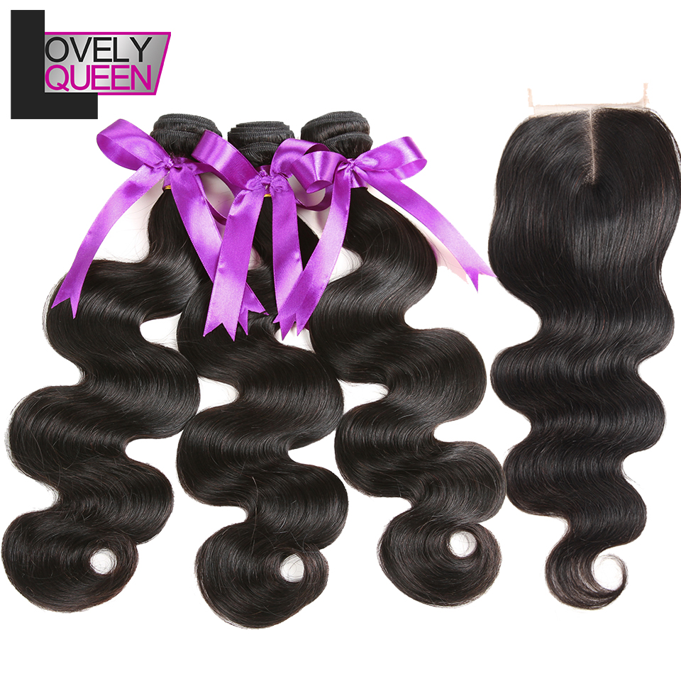 Lovely Queen Peruvian Hair Bundles With Closure Body Wave Bundles With Closure 100% Real Hair Human Hair Extensions Non Remy