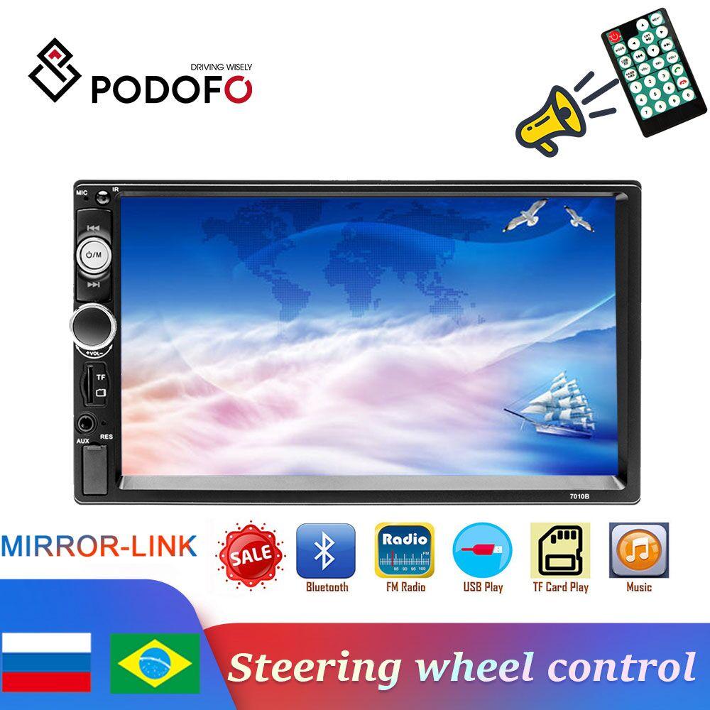 Radio Universal para coche Podofo 2din, reproductor MP5 con pantalla táctil de 7