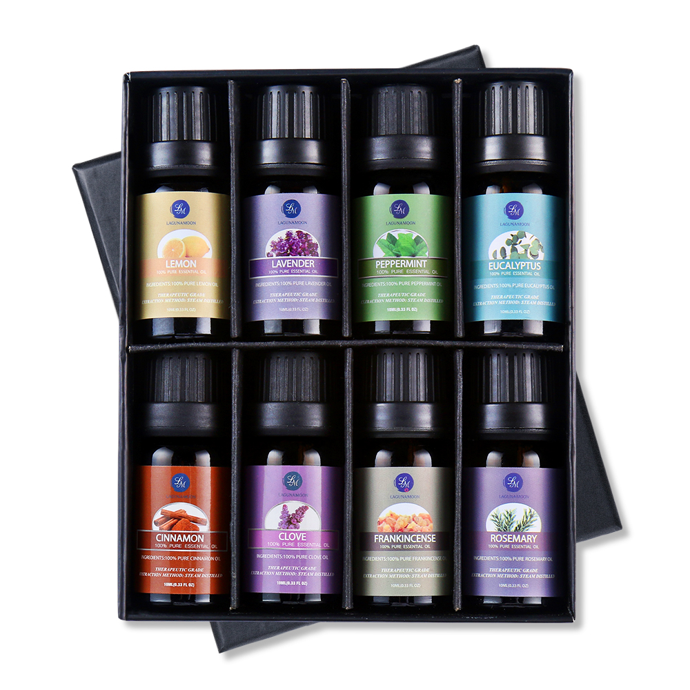 Lagunamoon 10ML 8PCS Gift Set Pure Essential Oils Diffuser Humidifier Massage Aroma Lavender Tea Tree Eucalyptus Lemongrass Oil
