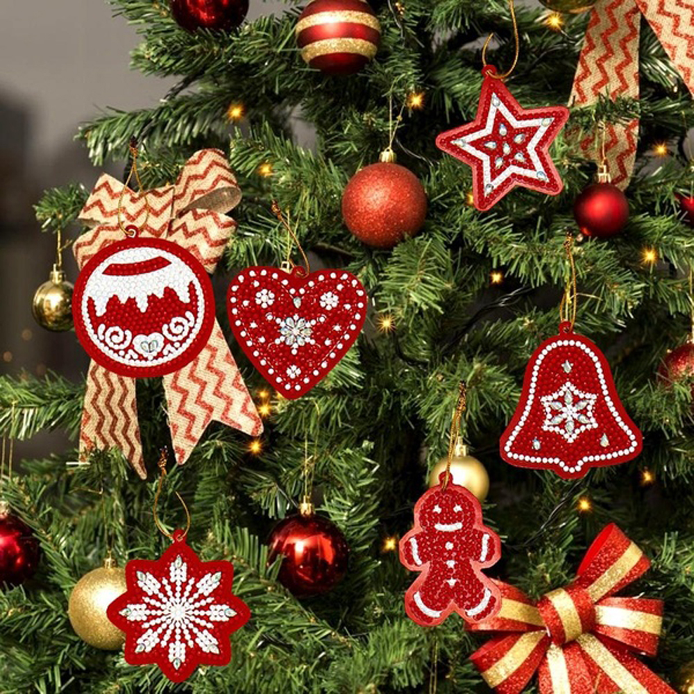 10pcs DIY Diamond Painting Christmas Tree Ornaments Xmas Pendant Home Decoration