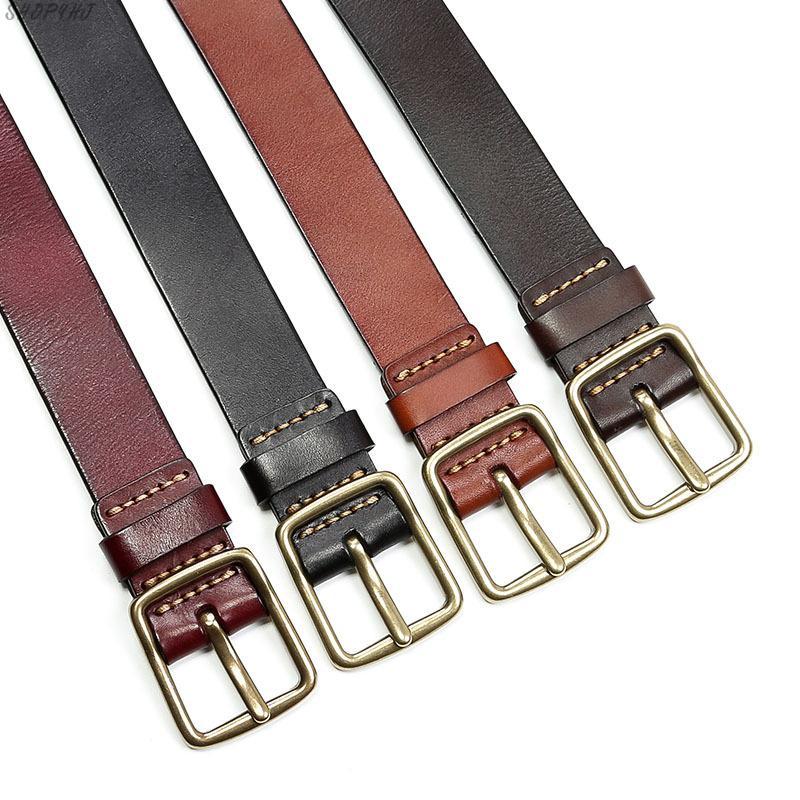 Ceinture en cuir hommes vintage ceintures en cuir hommes ceinture en jean couleur noire large cerclage ceinture marron string Iuxury véritable