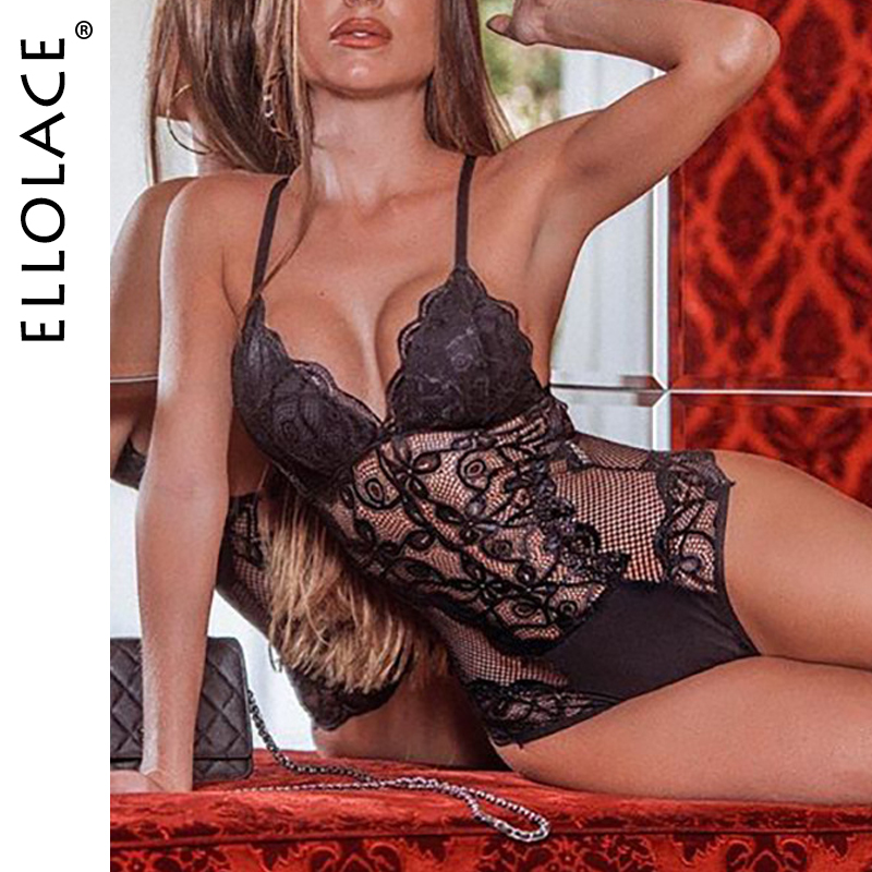 Ellolace Lace Bodysuit Jumpsuit Backless Transparent Sexy Overalls For Women Female Body Romper Hollow Out Bodycon Overalls