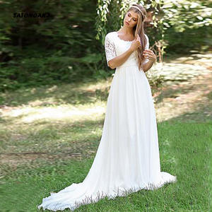 SATONOAKI Wedding-Dress Robe-De-Mariee Elegant Beach Lace Floor-Length White Half Ivory