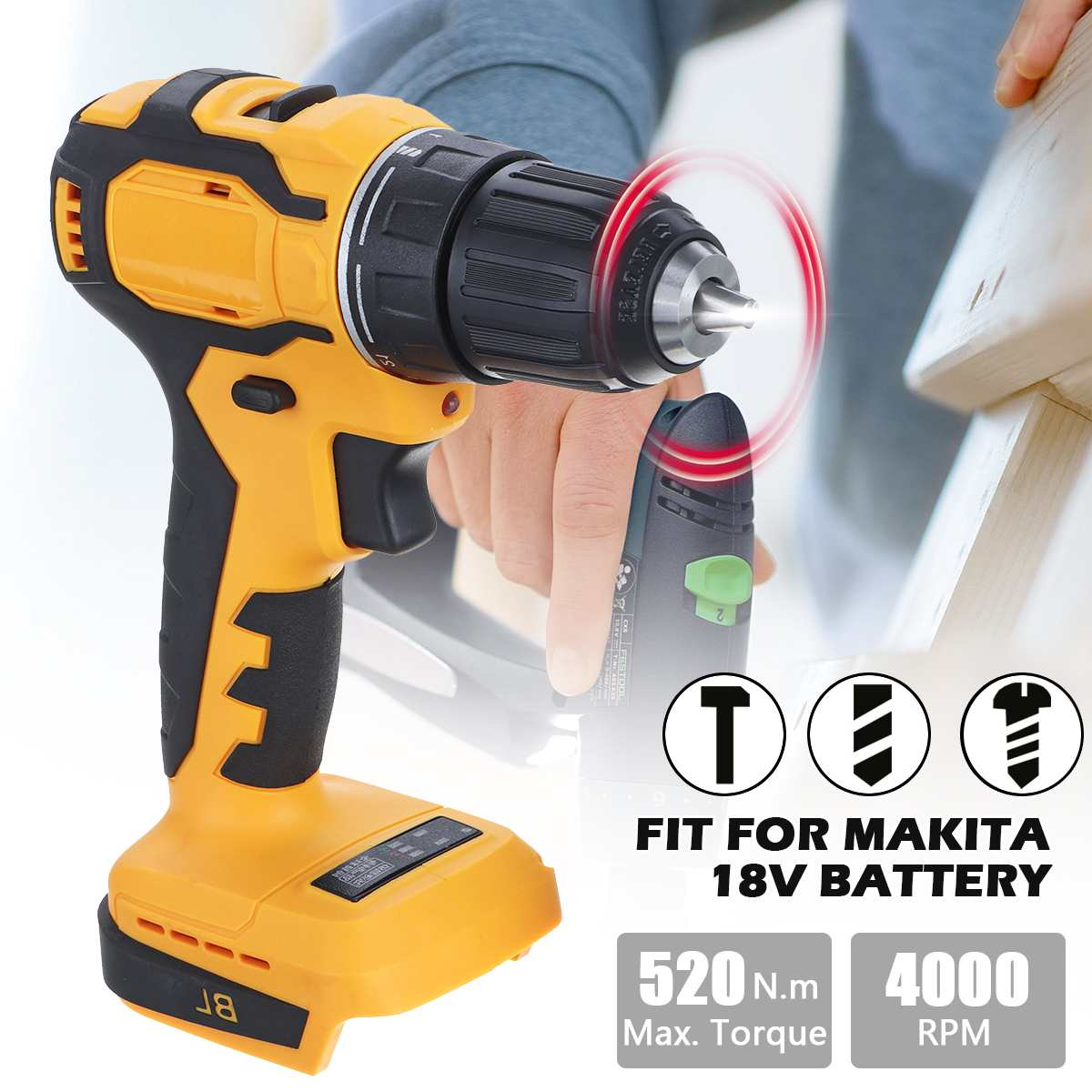 (no battery) Professional Cordless Drill Power Tools 520Nm Cordless Screwdriver Drills Fit For Makita 18V Battery