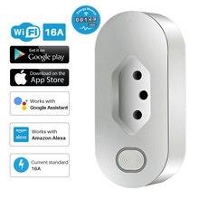 ปลั๊กไฟอัจฉริยะบราซิล 16A สมาร์ท WiFi ซ็อกเก็ต Energy Monitor APP รีโมทคอนโทรล Alexa Google Assistant