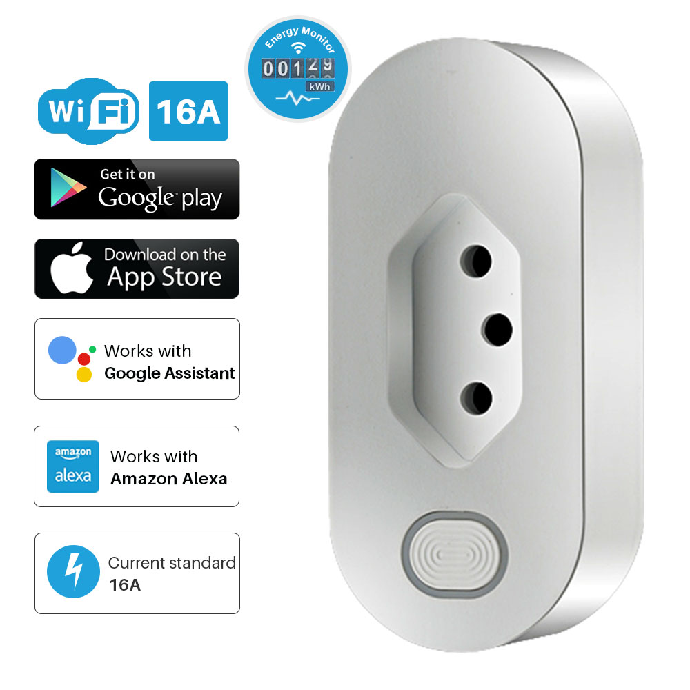 Intelligent Power Plug Brazil 16A Smart WiFi Socket With Energy Monitor APP Remote Control Compatible Alexa Google Assistant
