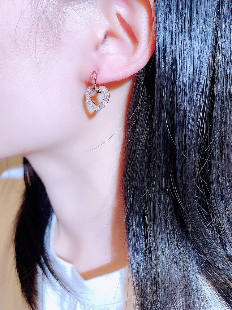 Ins Offre Spéciale brillant creux amour boucle boucles d'oreilles pour dame coeur forme à la mode Bling zircone goutte boucle d'oreille bijoux de mariage pendentif 2