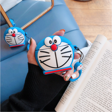 цена на Cartoon Case for AirPods Cute Cover Silicone Bluetooth Earphone Protective Case For Apple Airpods 2 Finger Ring 3D Doraemon Bell