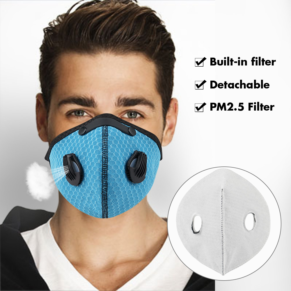 Motorcycle Mask Face Breathable Dustproof Filter Biker Mouth Mask Cycling Sport Activated Carbon Filters Balaclava Face Shield