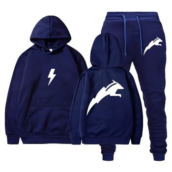 2020 New Men Fashion Long Sleeve Hoodies+Pants Set Male Tracksuit Sport Suit Men's Gyms Set Casual Sportswear Suit male youth fashion sportswear men s casual suit