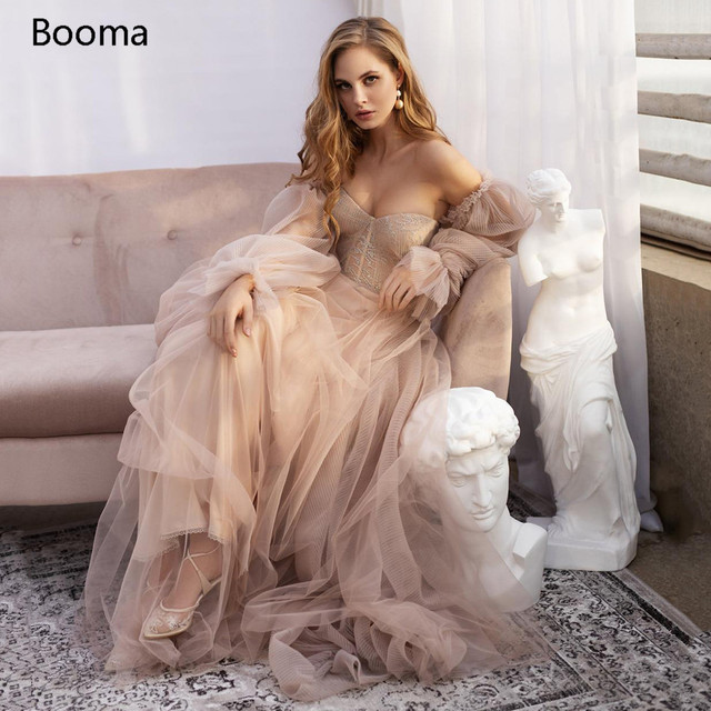Sweet Dusty Pink Prom Dresses 2021 Off Shoulder Long Sleeves Princess Party Dresses Crumpled Tulle A-Line Formal Evening Gowns 1
