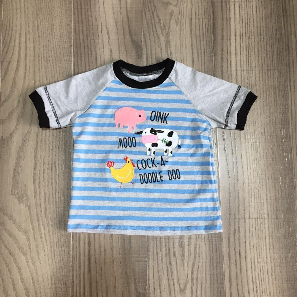 baby boys summer clothes farm T-shirts baby kids stripe blue top pig milk cow chook print shirt 1