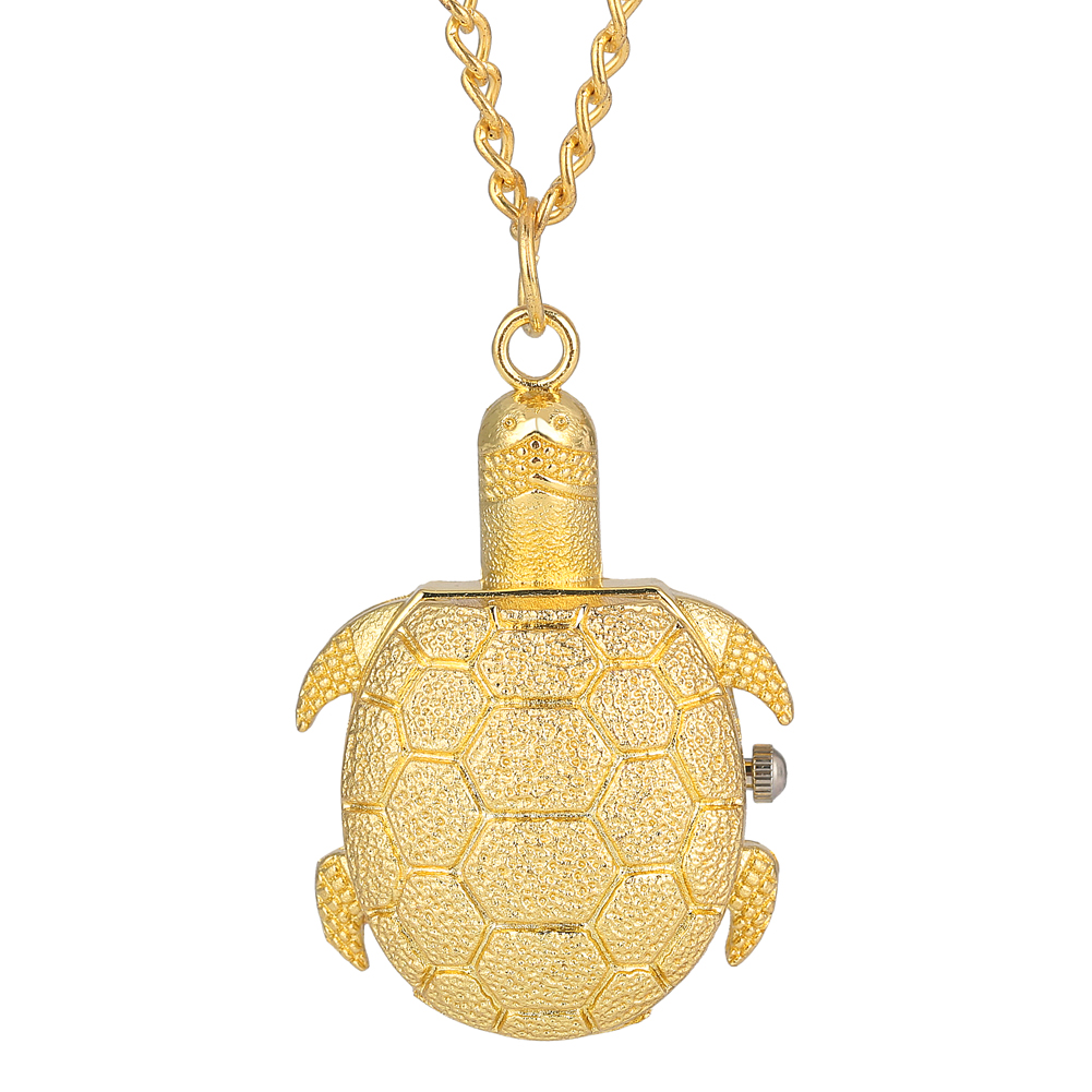 Luxurious Golden Tortoise Pocket Watch Concise Small Dial Necklace For Women Graceful Slim Chain For Male Zegarki Kieszonkowe