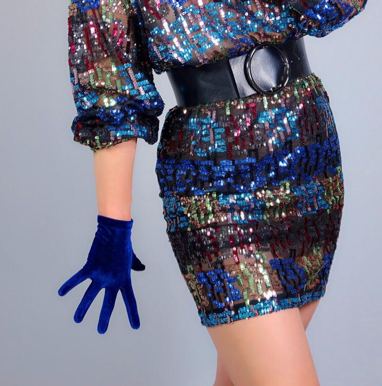 Women's Elegant Elastic Velvet Short Gloves Female Dark Blue Color Pleuche Party Driving Glove 22cm R2760