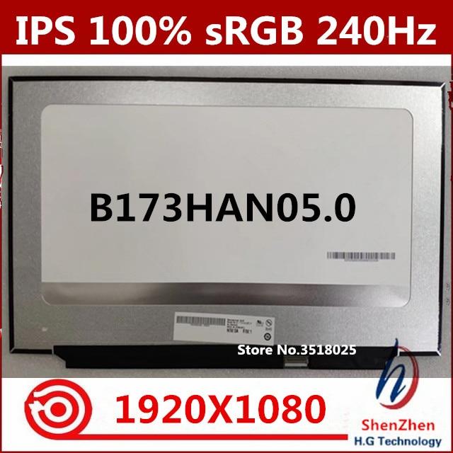 Original 17.3'' IPS FHD LED LCD Screen Matte Display Panel 240Hz 100% SRGB For B173HAN05.0 1920x1080 EDP 40PIN