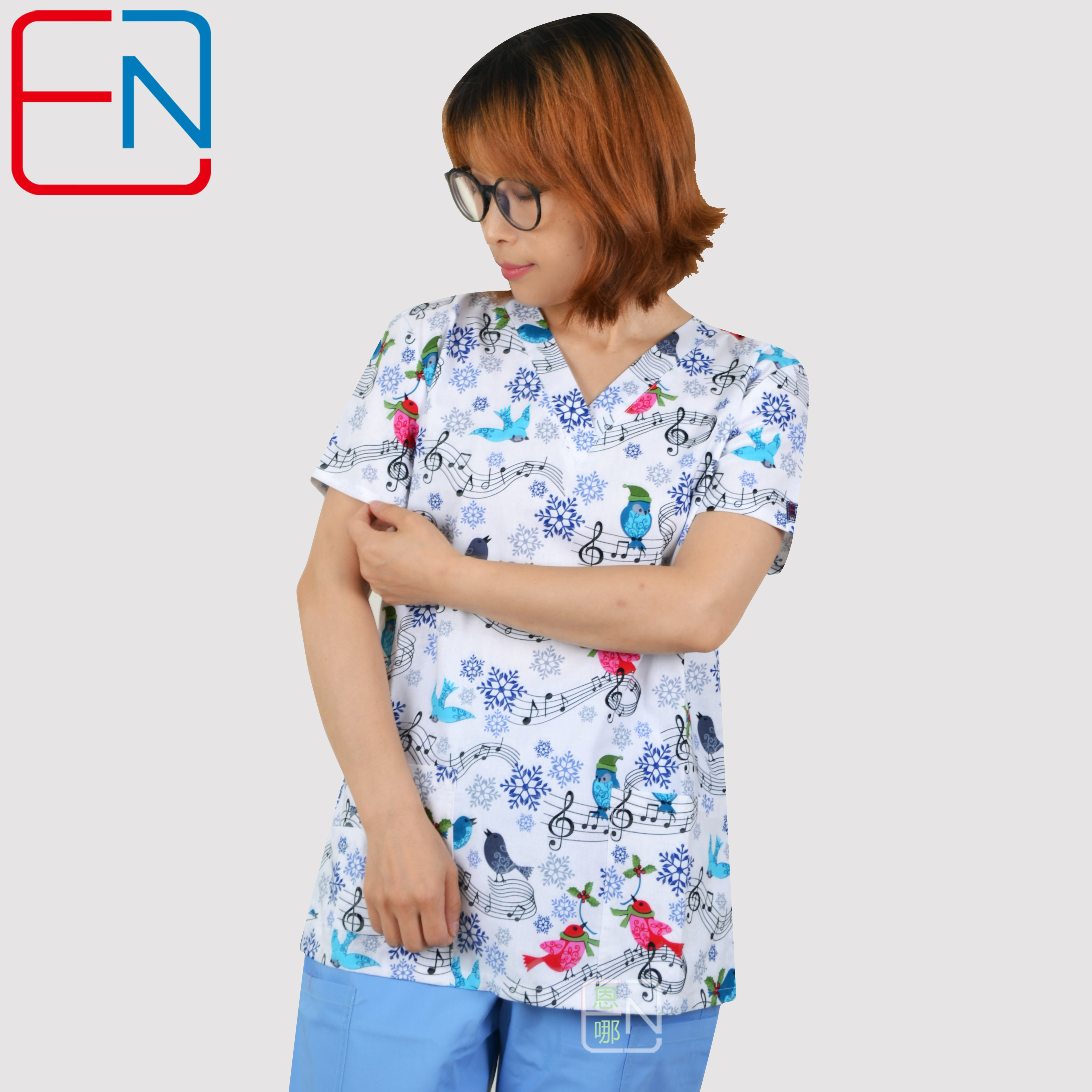 Hennar Women Medical Scrub Tops V-Neck White Print Notes 100% Cotton Surgical Scrubs Top Hospital Clinical Medical Uniforms
