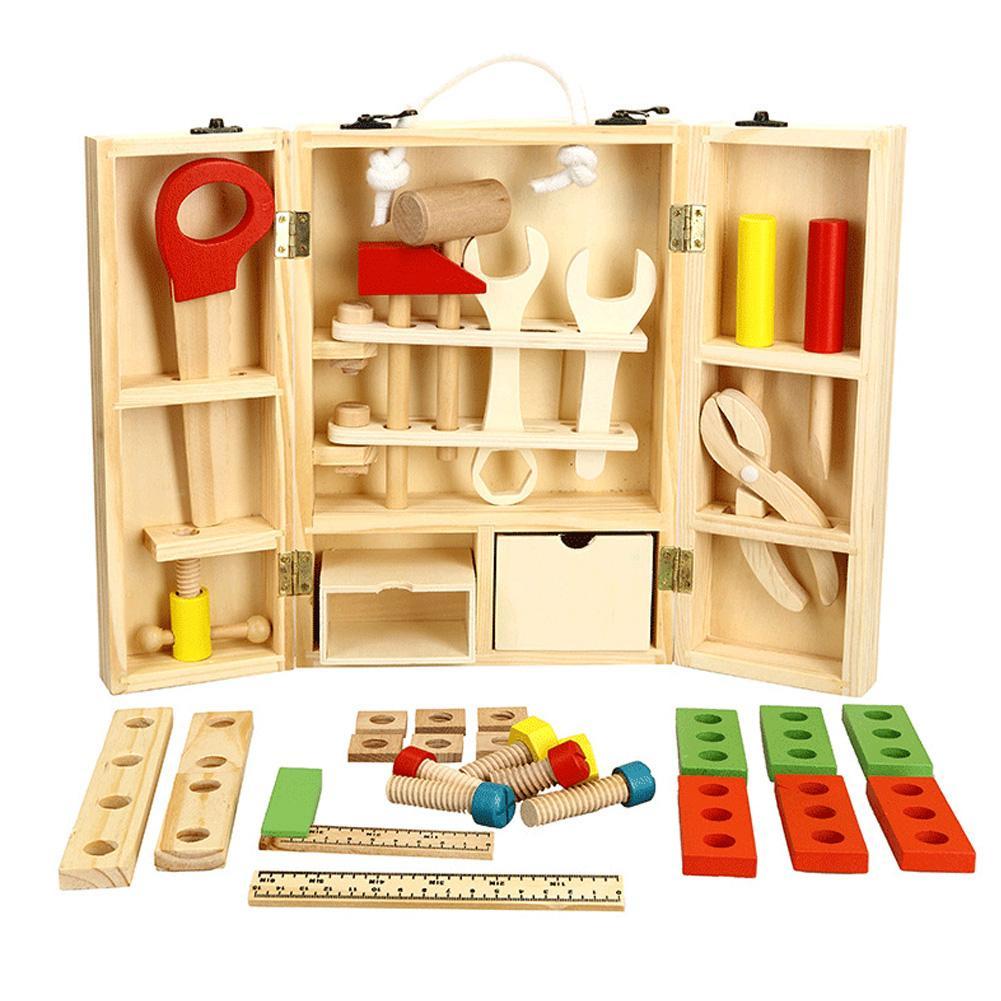 Kids Baby Wood Multifunctional Tool Set Toys Funny Educational DIY Maintenance Box Pretend Toys For Children Birthday Xmas Gift