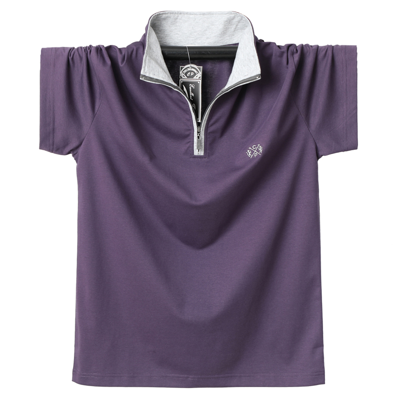 <font><b>Plus</b></font> <font><b>Size</b></font> 4XL 5XL <font><b>6XL</b></font> Big Polo Shirt <font><b>Men</b></font> Stand Collar Zipper 95% Cotton Man's Polo Shirts Casual Summer <font><b>Men's</b></font> <font><b>Clothing</b></font> Tees image