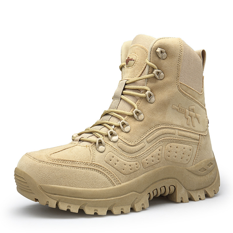 Cross Border Large Size Hight-top Combat Boots Anti-slip Wear-Resistant Outdoor Shoes Special Tactical Combat Boots Manufacturer