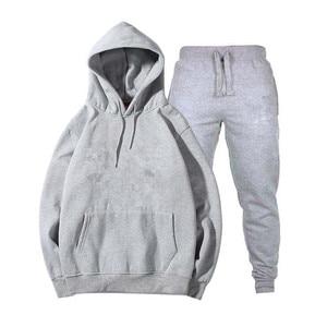 Image 5 - Mens and womens unisex 2 piece hooded trousers sportswear pullover sweatshirt trousers 2 piece sportswear suit