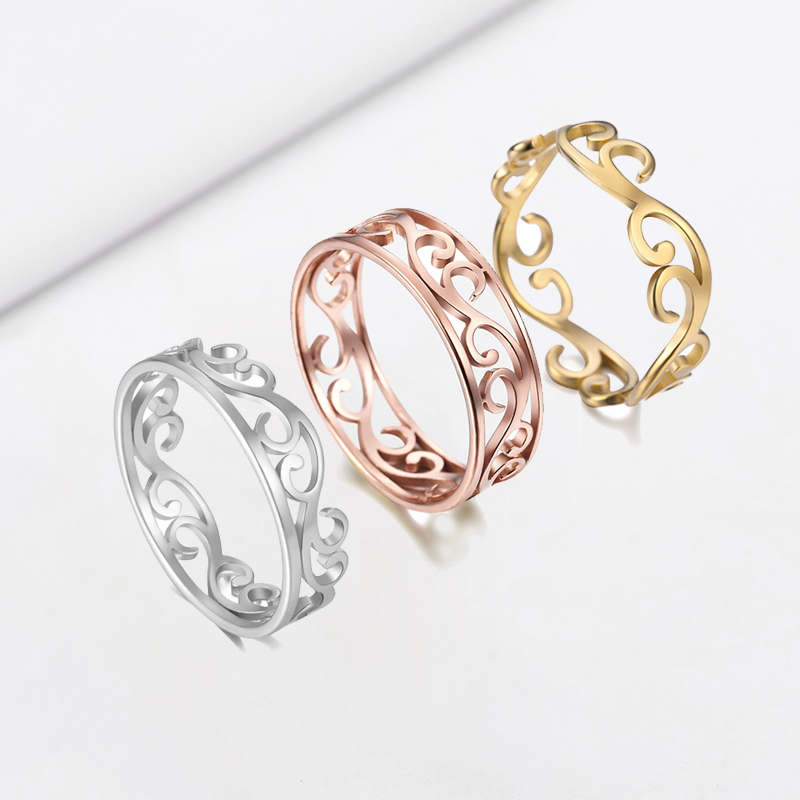 COOLTIME Filigree Flower Finger Rings Women Stainless Steel Romantic Couple Rings Jewelry Accessories Romantic Rose Gold Color