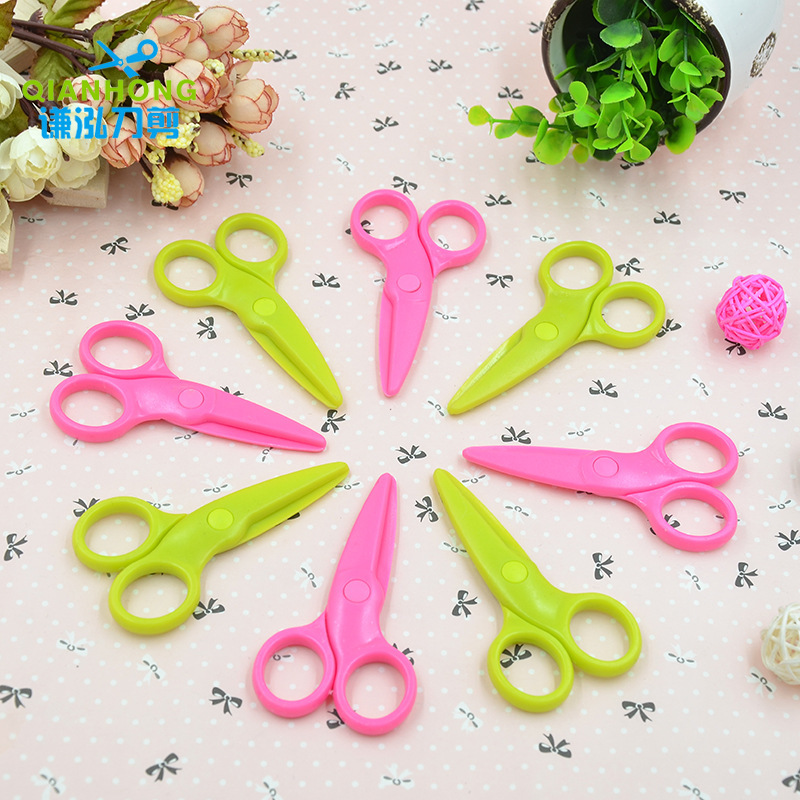 Safety Plastic Cartoon Children's Safety Paper-cut Knife Mini Manual Student Cutting Lace Scissors