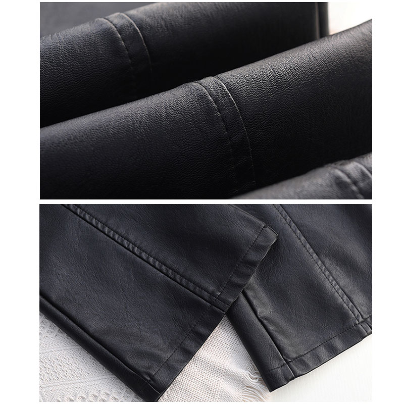 Image 5 - Plus Size Pockets Stretch Pu Leather Flare Pants 3Xl 4Xl Winter  Women Office Ladies Workwear Bell Bottom Pu Long Trousers MujerPants