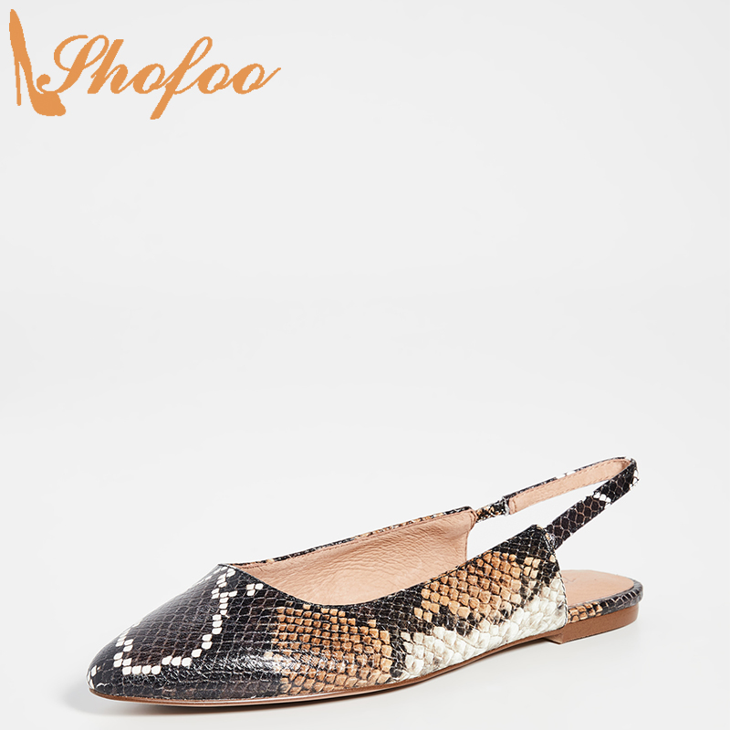 Snake Skin Embossed Slingback Flats Woman Pointed Toe Elastic Shoes Large Size 13 16 Ladies Summer Fashion Office Mature Shofoo