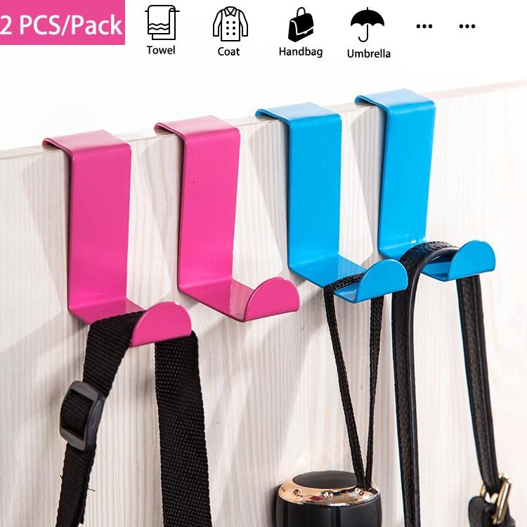 2Pcs Door Hanger Stainless Steel Back Door Clothing Cabinet Hook Clothes Coat Towel Hanging Hanger Bathroom Kitchen Organizer