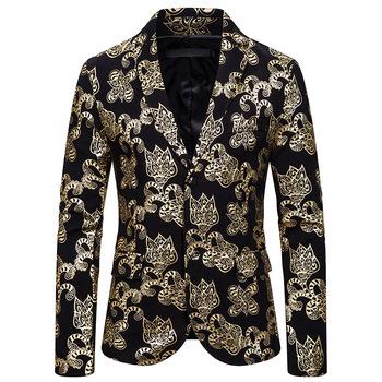 Mężczyźni Blazer europejskich i amerykańskich mężczyzn garnitur odchudzanie styl modne druku garnitur casual dla mężczyzn tanie i dobre opinie REGULAR Poliester Pojedyncze piersi Pełna Blazers X127 Na co dzień Polyester silver gold S M L XL XXL