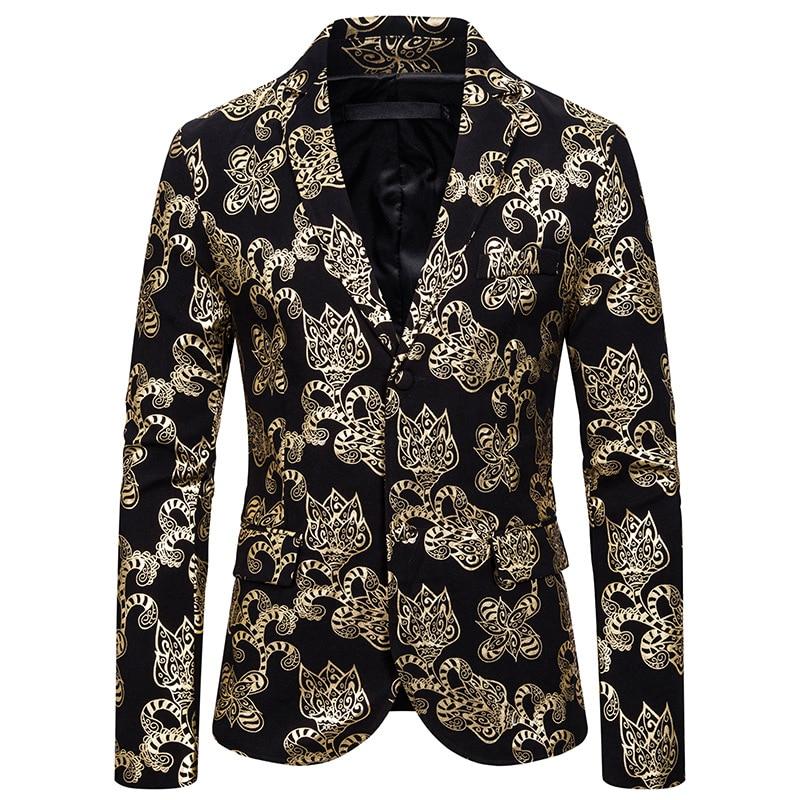 Men Blazer European And American Men's Suit Slimming Style Fashionable Print Casual Suit For Men