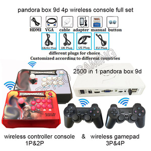 Puszka pandory 9D bezprzewodowy zestaw konsoli 4 graczy 2500 w 1 posiada kontroler gier 3D arcade stick i gamepad HDMI VGA na telewizor pc ps3