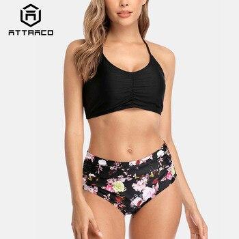 Attraco Women Bikini Set Halter Swimwear High Neck Swimsuit Vintage Flower Printed Bathing Suit Beachwear Bikini