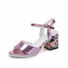 Sandals  Woman High-heeled Platform Shoes 2020 Summer New Print Fashion Hoof Heel Fish Mouth Wild Thick Europe
