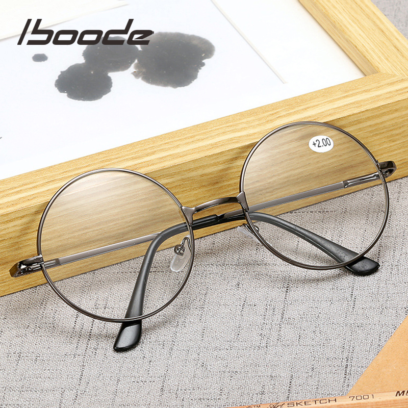 Iboode Retro Metal Round Reading Glasses Finished Diopter +1.0 1.5 2.0 2.5 3.0 3.5 Unisex Reading Presbyopia Glasses Women Men