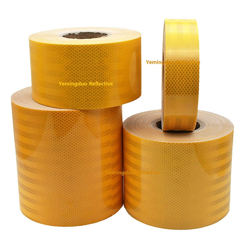 5 / 10 /15 / 20CM Width Super Strong Reflective Decoratiive Sticker Orange Yellow Self-adhesive Tape Road Traffic Warning Sign