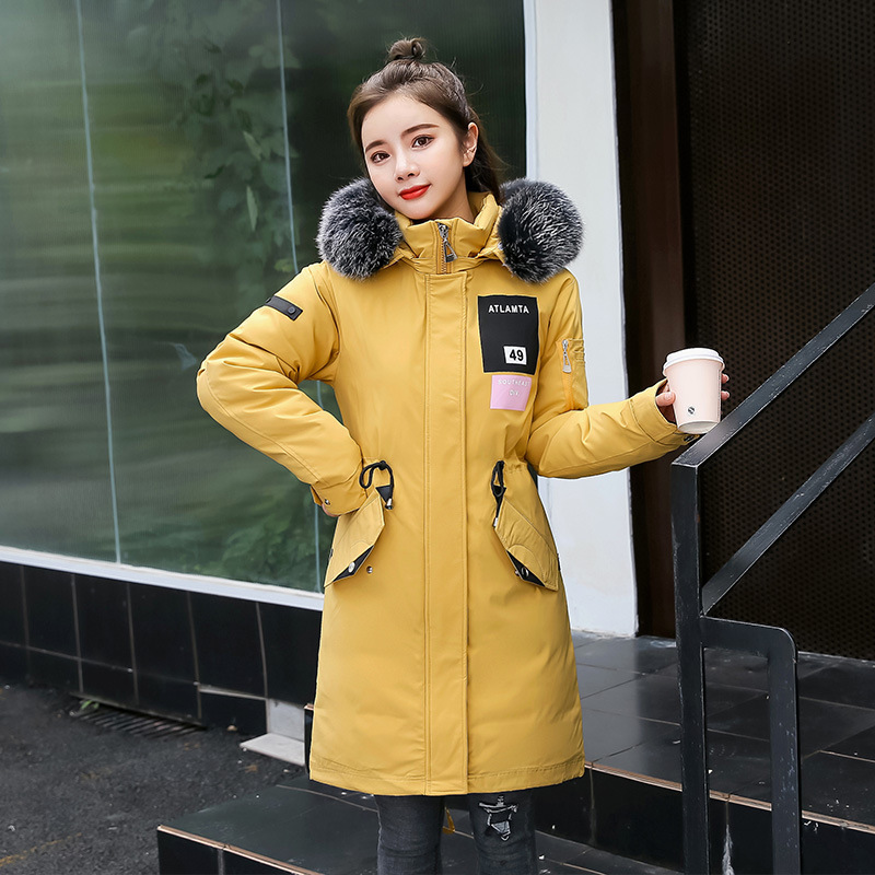 Hot sale new women's waist-closing medium-length down jacket with thick wool collar and cotton jacket winter   parka   2019 coat