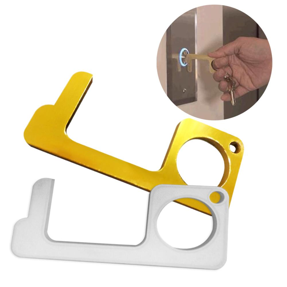 1Pc Hygiene Hand Anti Microbial Brass Edc Door Opener Portable Elevator Tool Door Handle Key For Home Non Contact Safety Tools