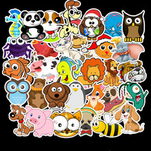 50PCS Funny Animal Cartoon Stickers Happy Zoo Cute Bat Owl Lion Panda Cat Dog Pig Fish Stickers for Kids Rooms Baby Home Decor