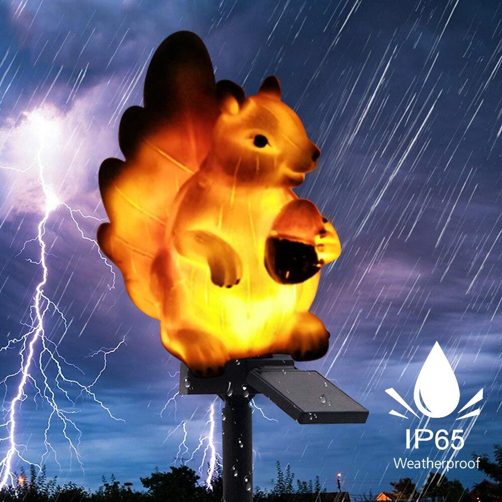 DIDIHOU 1/2/3 PCS Pretty Cute Squirrel Shape Solar Power Light LED  Night Light Path Lawn Yard Garden Lamps