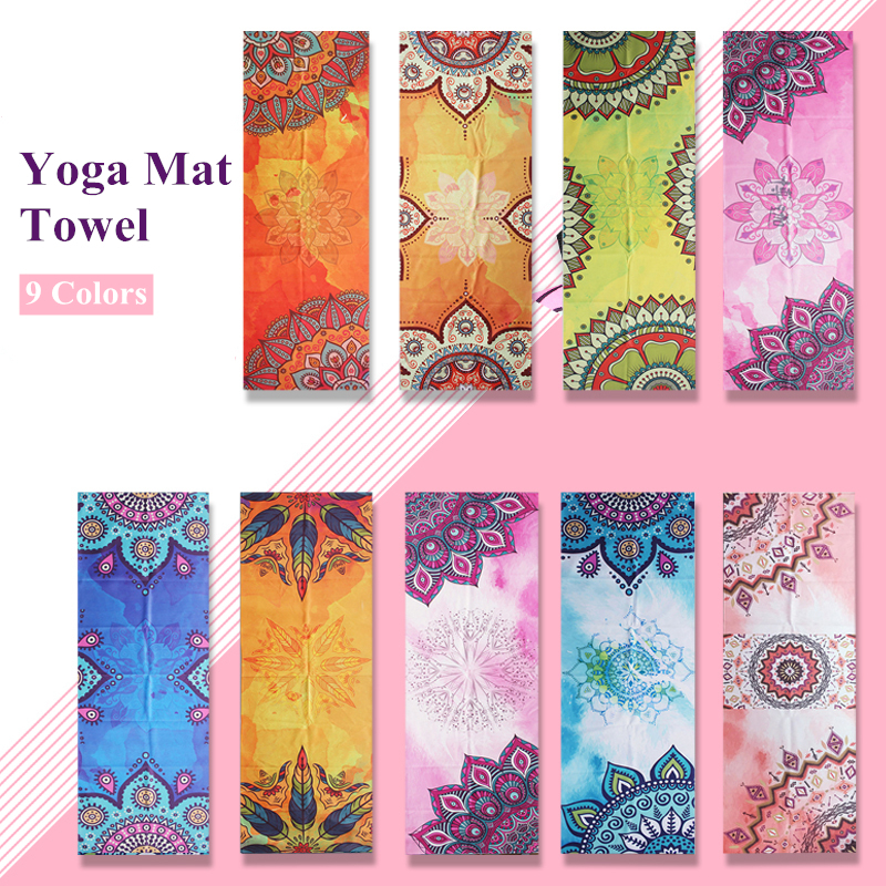 Yoga Mat Microfiber Print Pattern Foldable Portable Fitness Pilates Yoga Towel Soft Anti-slip Indoor Outdoor Sports Mat