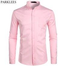 Fasciato Collare degli uomini di Colore Rosa Camicia di Vestito 2019 Brand New Manica Lunga casual Pulsante Imbottiture Chemise Lavoro casual Camicia con una Tasca 2XL