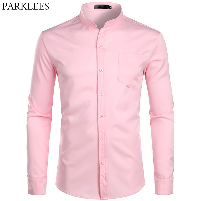 Men's Banded Collar Pink Dress Shirt 2019 Brand New Long Sleeve Casual Button Down Chemise Work Casual Shirt With One Pocket 2XL