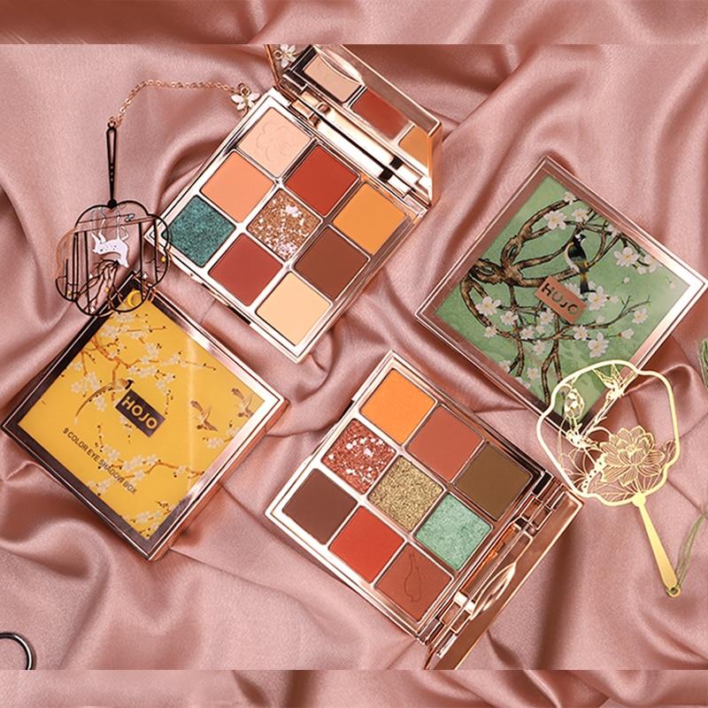 Брендовые тени для век HOJO, палитра для макияжа с 9 видов цветов, запеченные мерцающие матовые телесные тени для век, водостойкие блестящие пудры, косметика для красоты|Тени для век| | - AliExpress