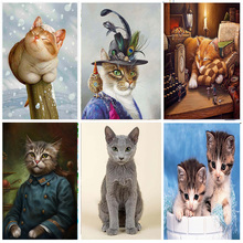 Cat Crystal Diamond Painting Full Round Cartoon Animal Kit New DIY Sticking Drill Cross Embroidery 5D Art Simple Home Decoration dog and cat diamond painting full round animals new diy sticking drill cross embroidery 5d cartoon simple home decoration