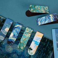 1Pcs Van Gogh Literature Art Series Magnetic Bookmarks Creative DIY Decoration Book Folder Stationery Student Office Supply