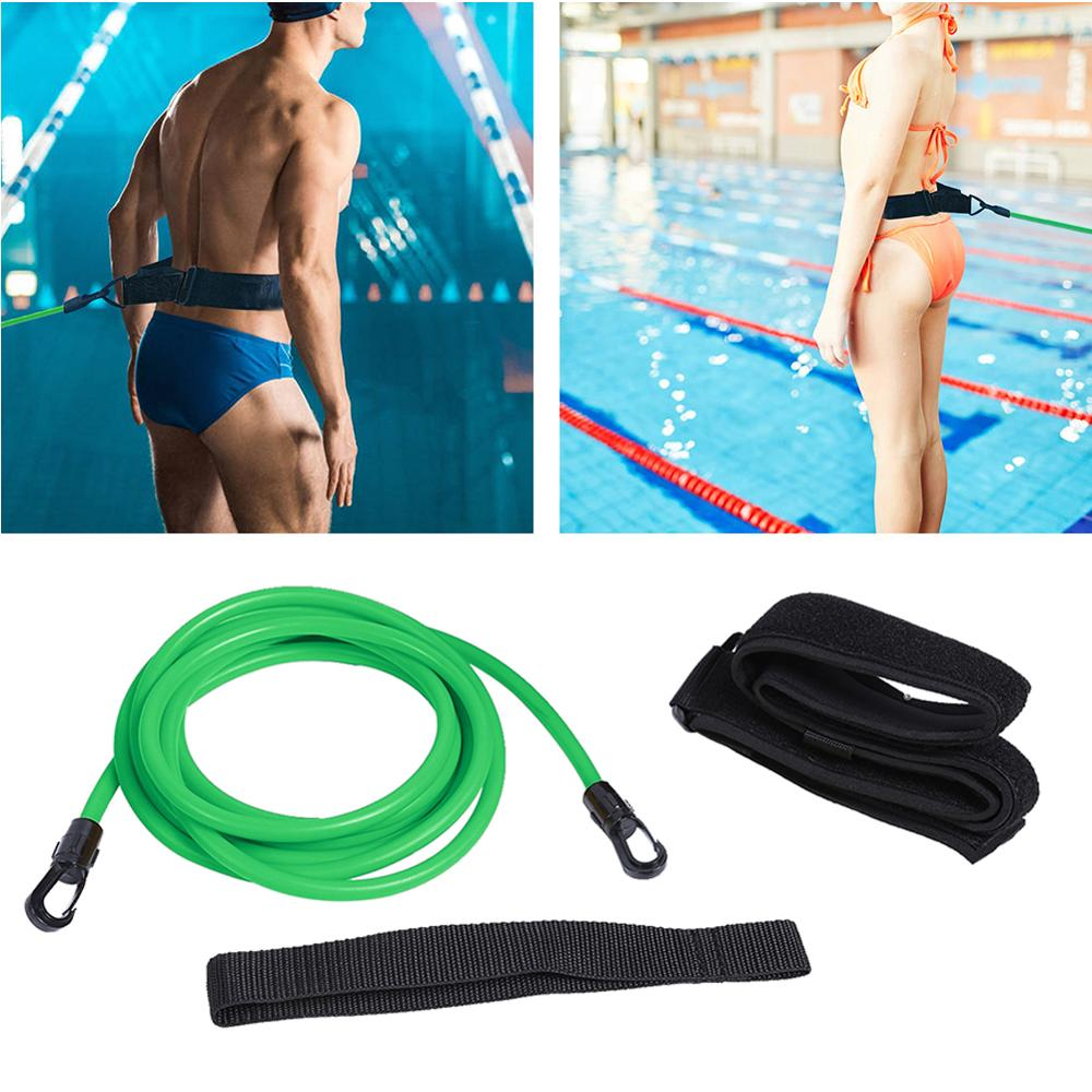 Adjustable Swim Training Resistance Belt Adult Kids Swimming Bungee Strength Exerciser Safety Leash Elastic Rope Swimming Supply